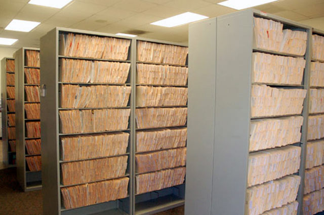 Files in an office after we moved them in.